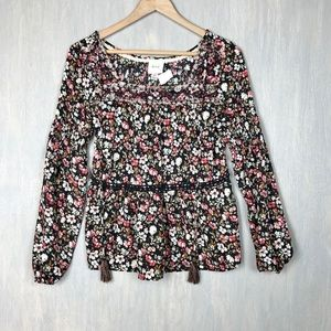 Knox Rose floral blouse top with tassels XS nwot